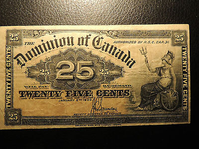 1900 DOMINION OF CANADA SHINPLASTER 0.25 CENTS PAPER SAUNDERS DC-15c