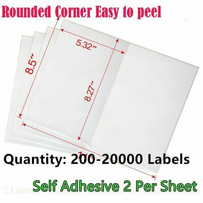 200-20000 Quality 8.5x5.5 Round Corner Shipping Labels Half Sheet Self Adhesive