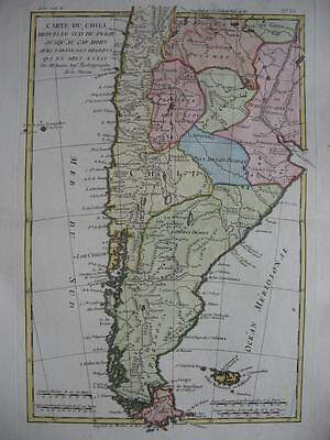 1780 - BONNE - Map CHILE  ARGENTINA  PATAGONIA  LAND OF FIRE