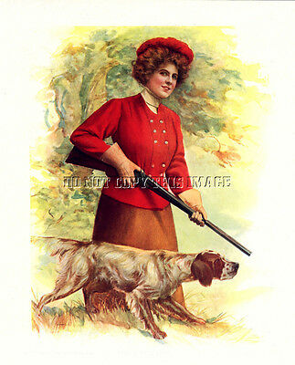 Antique Hunting Photograph Print Woman English Setter Double Barrel Shotgun