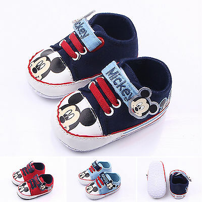 Toddler Infant Baby Boys Girls Mickey Mouse Pram Shoes Walking Trainers Sneakers