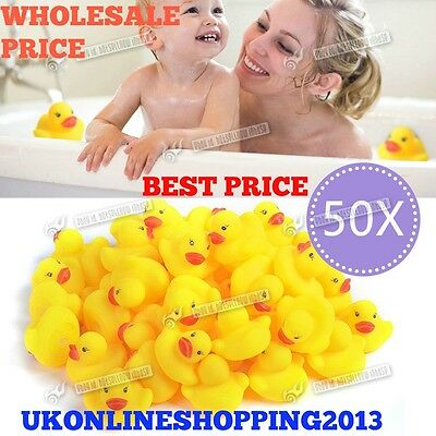 50 Yellow Rubber Ducks Bath time Squeaky Bath Toy Water Play Kids Toddler DUCK N