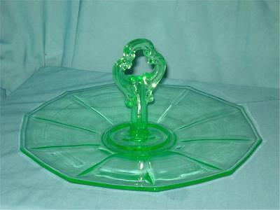 Antique Vaseline Depression Glass Appetizer Dessert Veggie Serving Tray w Handle
