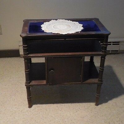 """Antique Mahogany Table with blue glass top  PRE-OWNED / USED"""" LOCAL PICK UP ONLY"""
