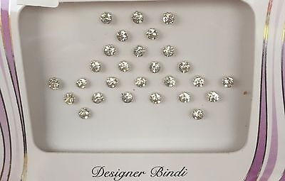 BDS242_Sil: Pack of Silver Dot / Stone Bindi's / Tattoos Wedding Nose Stud