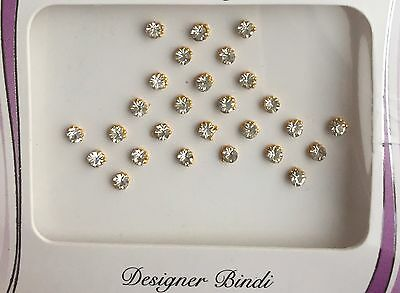 BDS243_Gol:  Pack of Gold & Silver Stone Bindi's / Tattoos  Wedding Nose Stud