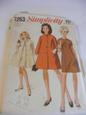 Simplicity Sewing Pattern Coat and Dress #7263 Vintage Size 12 cut pattern