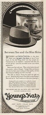 1924 Youngs Hat Co NY SkyLine of the Nation Blue Skies Hat Box Norwalk CT Ad