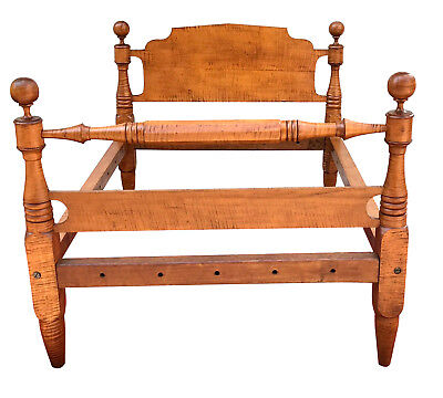 Exceptionally Fine Solid Tiger Maple Federal Cannonball Bed-Boldest & Best Grain