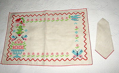 Vintage Beige Linen Placemats & Napkins Printed Butterflies & Flowers Set of 8