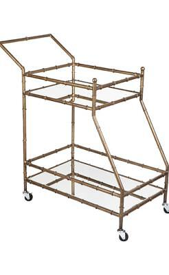 Tansu Mirrored Drinks Trolley Antique Gold CL - 31163