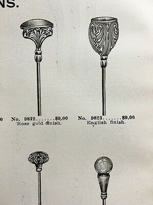 1918 Hat Pin Designs Gold Silver Barrette Original Antique Catalog Ad Page x2