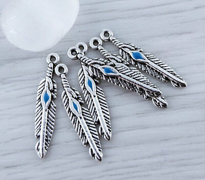 Bulk Silver Feather Charms with Turquoise Dot 10 20 or 50 pcs Boho Pendant CH122