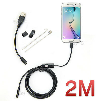 7mm 6 Led Android Phone Endoscope IP67 Inspection Borescope HD Camera video 2M