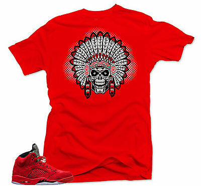 0659703c041 Shirt to match Nike Air Jordan Retro 5 Red Suede Sneakers.Chief 5 Red Tee