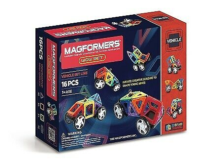 NEW!! Genuine MAGFORMERS WOW 16pc - Magnetic Construction Set + Wheels - 63094