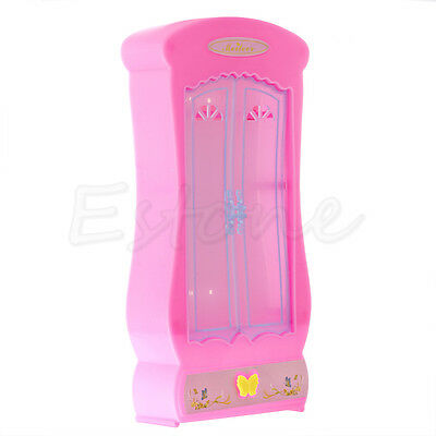 1Pc Pink Closet Wardrobe For Barbie Doll Girls Toy Princess Bedroom Furniture