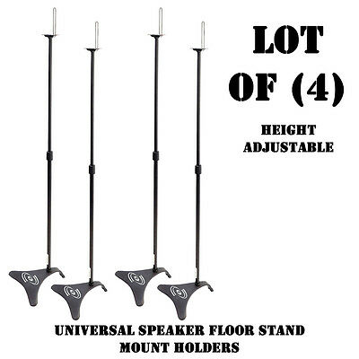 Lot of (4) Pyle PHSTD1 Universal Height Adjustable Home Theater Speaker Stands