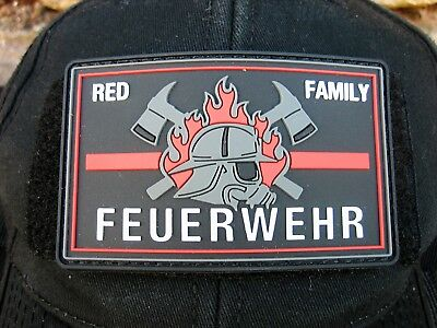 Klettpatch Rubberpatch ca. 8x5cm thin red line, red family Deutschland Feuerwehr