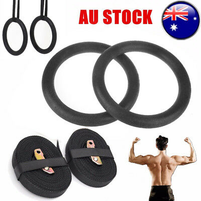 Pro ABS Olympic Gymnastic Rings Gym Training Fitness Exercise Hoop Straps 1 Pair