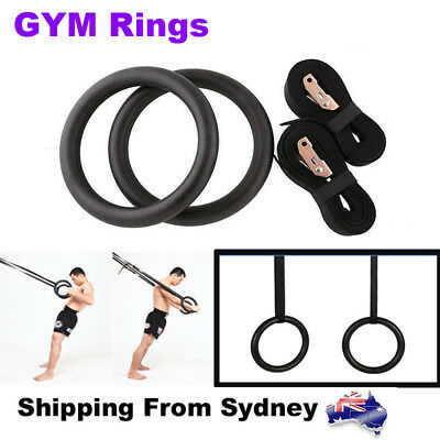 Gymnastic Olympic Rings ABS Gym Pro Exercise Straps Strength Training Fitness AU
