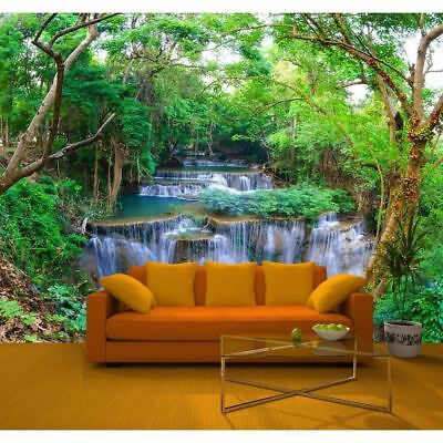 New Green Spring River Forest Nature Waterfall Photo Mural Wall Art Décor R219