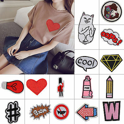 15X Patches Badges Set Embroidered Diamond Sew Iron on Cloth Applique Craft DIY