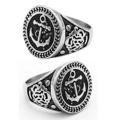 2pcs Stainless Steel Ring Retro Round Anchor Rings Punk Jewelry Size 10 12