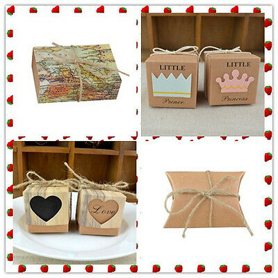 AU 50Pcs Multi Styles Gift Box Candy Jewelry Kraft Paper Bag For Wedding Party