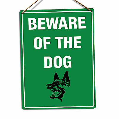 WTF | Beware Of The Dog Green | Metal Wall Sign Plaque Art | Guard Dog Warning