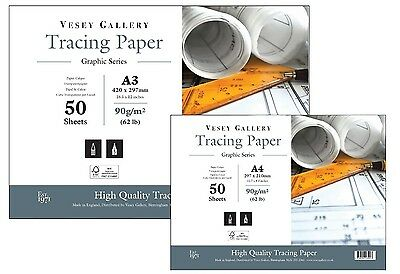 Tracing Paper Pad.50 Sheets Heavy Weight 90gsm A5, A4 and A3 Made in UK