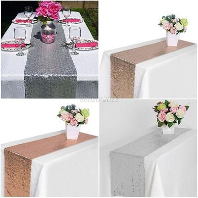 """AU 12"""" x 108"""" Satin Table Runner Banquet Table Runners Wedding Party Home Decor"""
