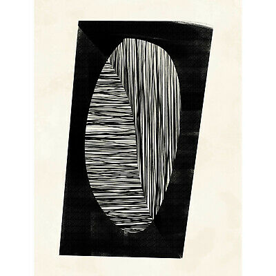 Minimalist Abstract Painting Black White Art Print Poster Hp4105