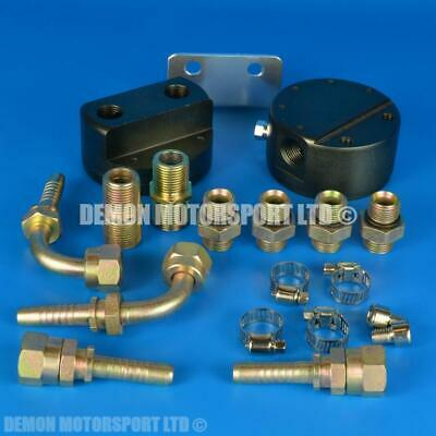 3/4-16 Performance Oil Filter Relocation Adapter Plate Kit + fittings / hose