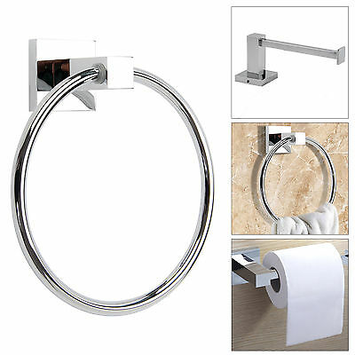 Chrome Modern Bathroom Toilet Tissue Paper Roll Holder&Towel Ring Fittings Set