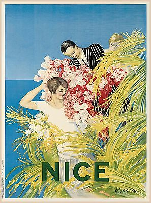Nice France French Riviera European Vintage Travel Advertisement Art Poster