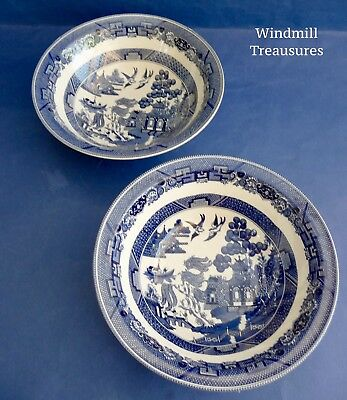 Pair Johnson Brothers Blue & White Willow Pattern Pasta/salad/fruit Bowls - New