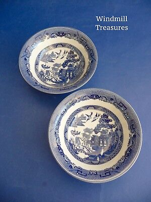 Pair Johnson Brothers Blue & White Willow Pattern Soup/cereal Bowls - New