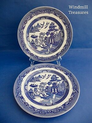 PAIR JOHNSON BROTHERS BLUE & WHITE WILLOW PATTERN DINNER PLATES 25cm - NEW