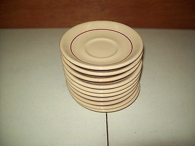 Lot of 10 Shenango China Rim Rol Saucers Tan w/ Red Stripe Green Back Stamp