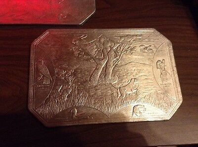 Set Of 2 Sayford Co. Embossed Aluminum Hot Plates Vintage.