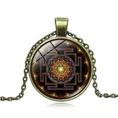Sacred Geometry Sri Yantra Necklace/Pendant in Velvet Pouch/FREE P&P/UK STOCK