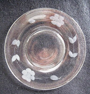 Vintage Set of 10 Depression Glass Etched with Flower Clear Glass Small Plates