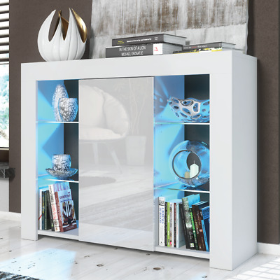 Modern Cabinet Cupboard sideboard - Matt Body and High Gloss Doors + LED Light!
