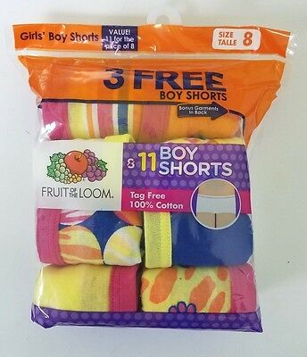 Fruit of the Loom Girls 11 Pk Boy Shorts Size 8