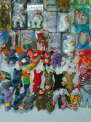 HUGE Lot of 40 Ty Beanie Baby Plush Toys Minis