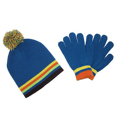 New CTM Kids' Knit Striped Hat and Gloves Winter Set