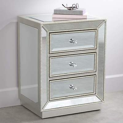 New 3 Drawer Mirrored Accent Table Nightstand Chest Dresser Storage Silver  Glass
