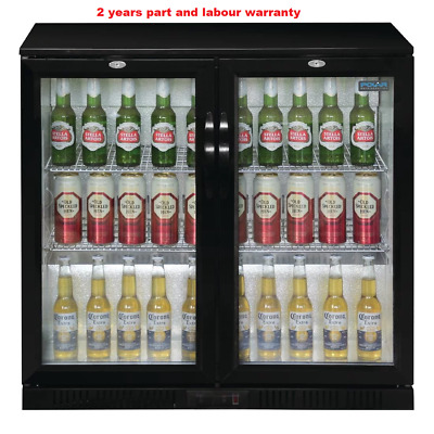 Polar GL002 Double Back Bar Bottle Cooler with Hinged Doors in Black 208Ltr