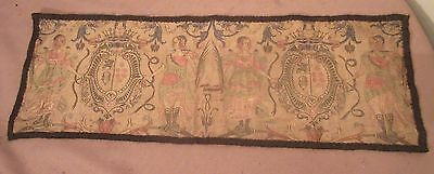 antique ornate embroidered centerpiece table mat figural needlepoint textile